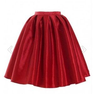 Chic Wish red midi skirt
